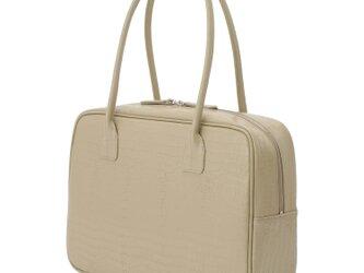 A4対応 人気のスクエアボストン オール牛革 本革バッグ 軽量 クロコ型 レザー ベージュの画像