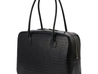 A4対応 人気のスクエアボストン オール牛革 本革バッグ 軽量 クロコ型 レザー ブラックの画像
