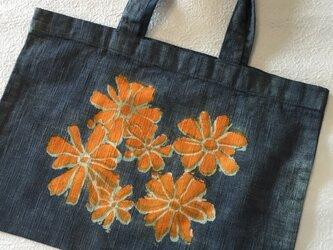 手染め 綿 エコバック 花の画像
