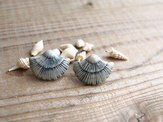 青い貝殻の耳飾り(ピアス)の画像