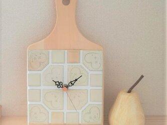 """★タイルの掛け時計 """"Pear"""" 1008 モザイク インテリアウォールクロックの画像"""