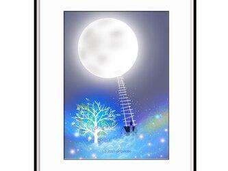 「月に支えられて、星に支えられて」 ほっこり癒しのイラストA4サイズポスターNo.660の画像