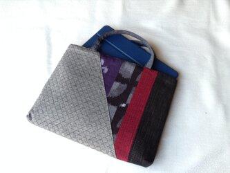久留米織のパッチワークトートバッグ グレーの画像