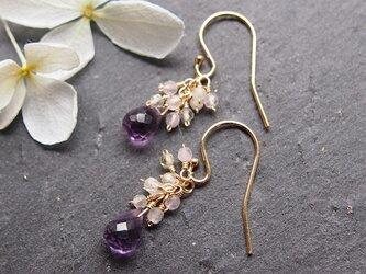 紫陽花のしずくピアス(14kgf)/イヤリングの画像