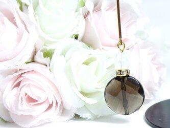 【1点のみ】スモーキークォーツの香水瓶風ロングピアス〔389〕の画像