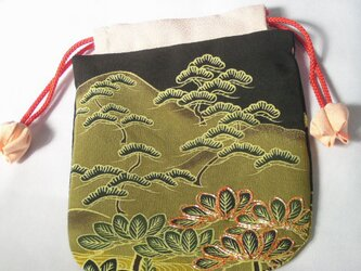 正絹 巾着袋 留袖 リメイク 弐)の画像