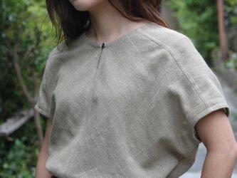 フレンチスリーブ・バイアスシャツ・綿麻の画像