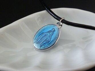 フランス奇跡のメダイのネックレス - Blueの画像