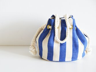 ヨーロッパリネン ストライプマリンバッグ ブルーの画像