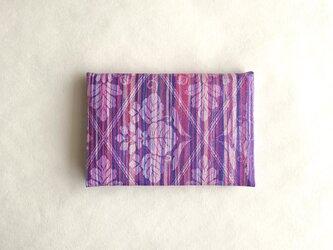絹手染カード入れ(縦・濃ピンク紫系)の画像