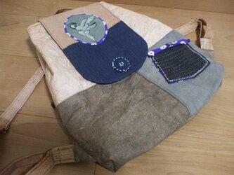 受注品 古布と柿渋染めのリュックサック 木綿の画像