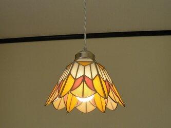 ペンダントライト・オレンジピンク(ステンドグラス)天井のおしゃれガラス照明 Lサイズ・(コード長さ調節可)29の画像