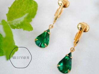 ヴィンテージビジューのイヤリング emerald pの画像
