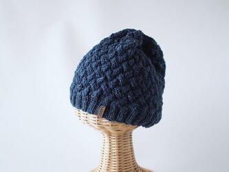 薄手コットン素材のニット帽 デニムの画像