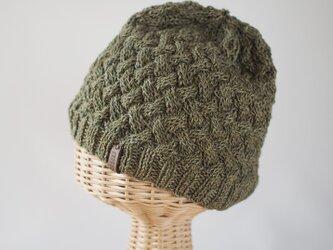 薄手コットン素材のニット帽 オリーブグリーンの画像