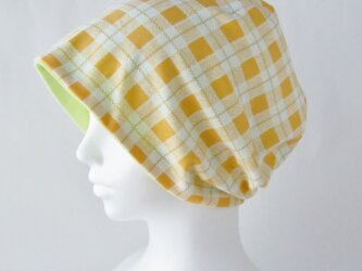 ゆるいリバーシブル帽子 オレンジチェック 若草グリーン(CSR-013-OCWG)の画像