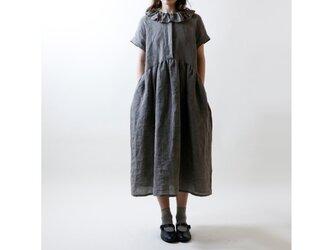 シャンブレーリネン・襟フリル・ワンピース/グレーの画像