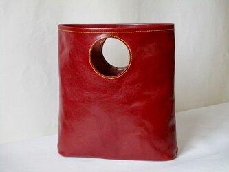 イタリア革ワインレッドの中くらいバッグの画像