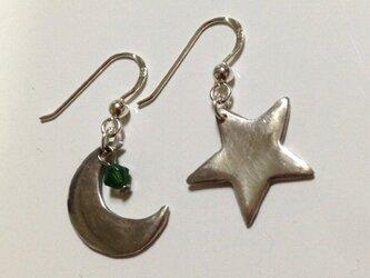 月と星,ピアスの画像