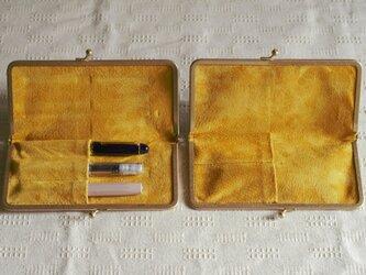真鍮使いの口金ペンケース(3本用)/グレー×イエローの画像