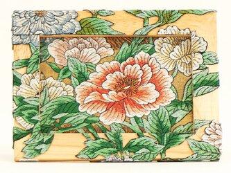 額001 「咲き誇る牡丹」帯アート(中)ーインテリア/額/スタンド/壁掛け/飾り/kimono/着物/帯/和/手作り の画像