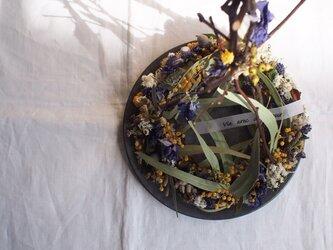 Wreath Tree*ミモザ&紫の花の画像