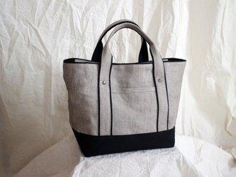 *受注生産*リネン×帆布 ふた付きトートバッグの画像