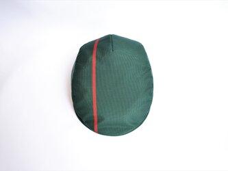 大島紬ハンチング:緑に赤いライン 大島紬/着物リメイク/国内送料無料/2営業日以内発送 1906h16の画像