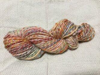 【手紡ぎ糸(スピンドル)ナバホ撚りです✨】  メリノウール シルク その他 84gの画像