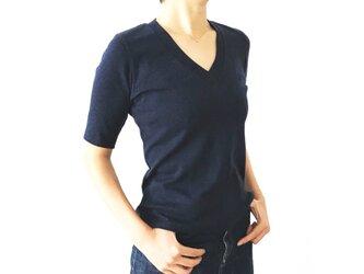 日本製オーガニックコットン 形にこだわった 大人のVネックTシャツ【サイズ・色展開有り】の画像