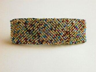 カラフルビーズの刺繍バレッタの画像