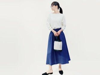 リネン100% マリンブルー ロングスカート ●HELENA-MARINE●の画像