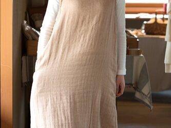 Organic Cotton3重ガーゼ茶色 Aラインワンピースの画像