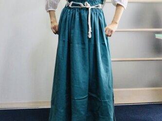 シワになりにくいリネン100%  超ハイウエストボリュームスカート  グリーンの画像