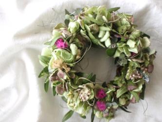 ❍ラッピング無料❍秋色紫陽花とスターチスのミニリースの画像