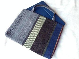 久留米織のパッチワークトートバッグ グレーと紺と緑の画像