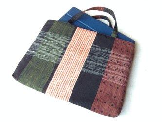 久留米織のパッチワークトートバッグ 赤と黒②の画像