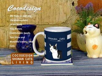 湘南 Cats Cafe  マグカップ 夏ボーダー 007 うすブチ猫の画像