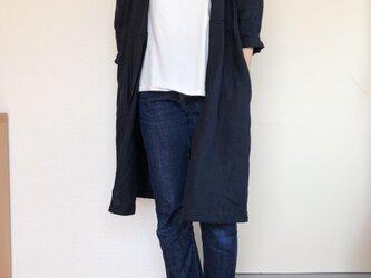 【受注生産】リネンのコート  ダークネイビーの画像
