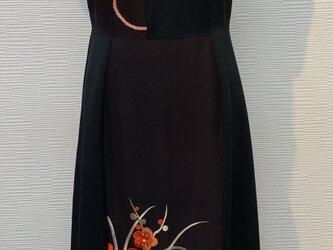ドレス(着物リメイク)(フレンチスリーブ)(黒留袖)の画像