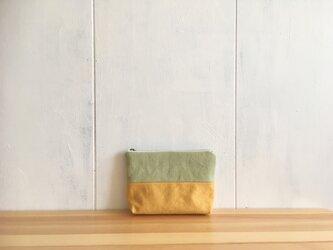 黄色×黄緑色 ポーチの画像
