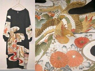 留袖リメイク♪鳳凰&刺繍が豪華なアンティーク留袖ワンピース♪ハンドメイド♪冠婚、フォーマル・シルクの画像
