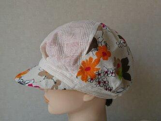 魅せる帽子☆ふわり♪リバーシブルキャスケット~オレンジの画像