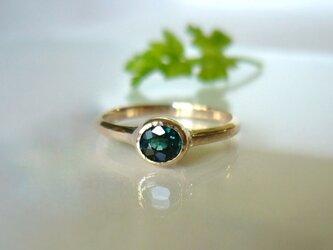 ブルーグリーントルマリンのK10の指輪の画像