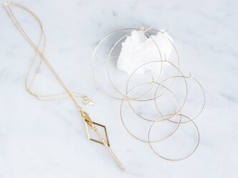 【14KGF】Geometric Glass Bar Long Necklaceの画像