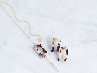 【Marble】14KGF Long Necklace,Glass Long Bar-Brown Mix-の画像