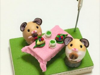 【受注生産】ハムスターのメモスタンド(お茶会ver.)の画像