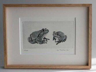二匹の蛙/ 銅版画(額あり)の画像