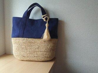 『夏の福袋2019』マダガスカル産ラフィアとヴィンテージ帆布のデイリートート ( navy blue  m)の画像