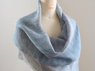 手織り パープルとブラウンの段染め絹麻糸による広巾ショールの画像